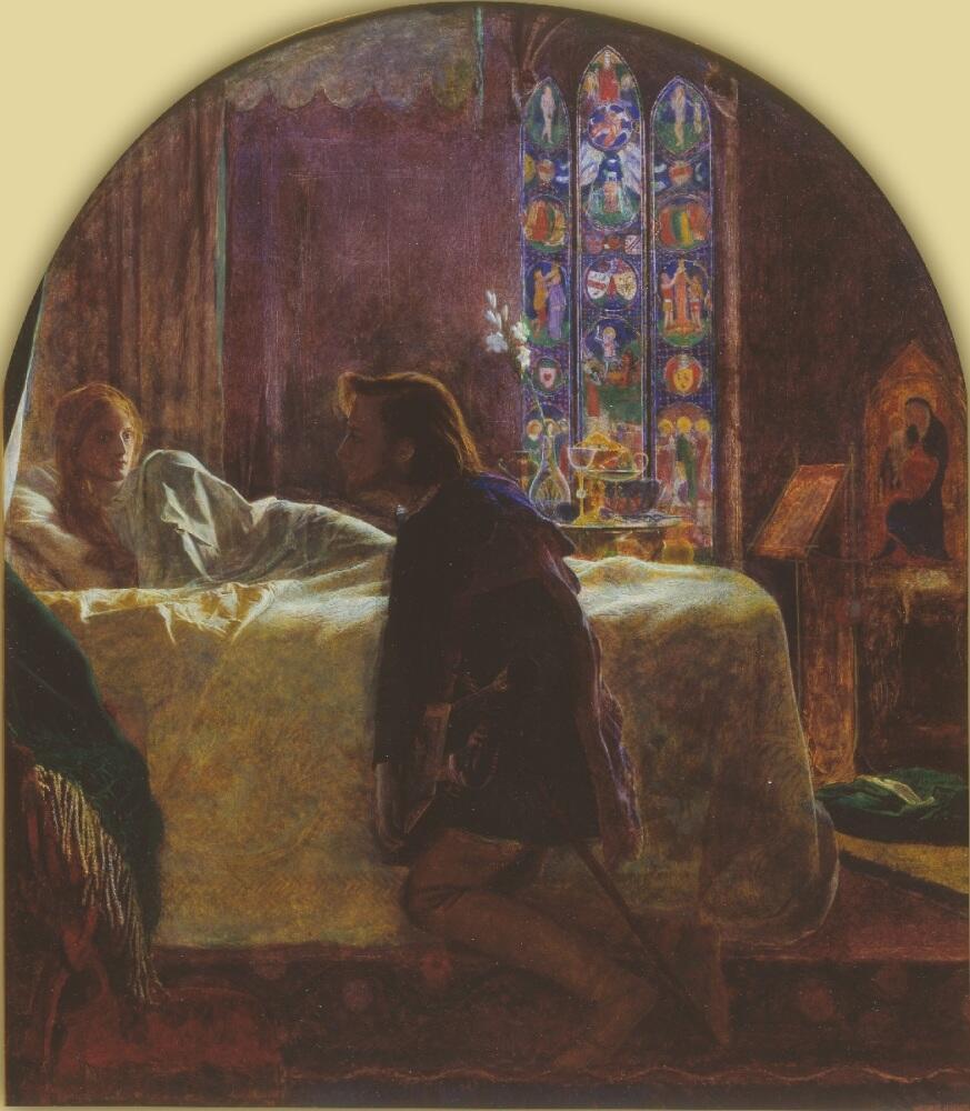 Артур Хьюз, «Вечер св. Агнессы», фрагмент, Центральная часть триптиха