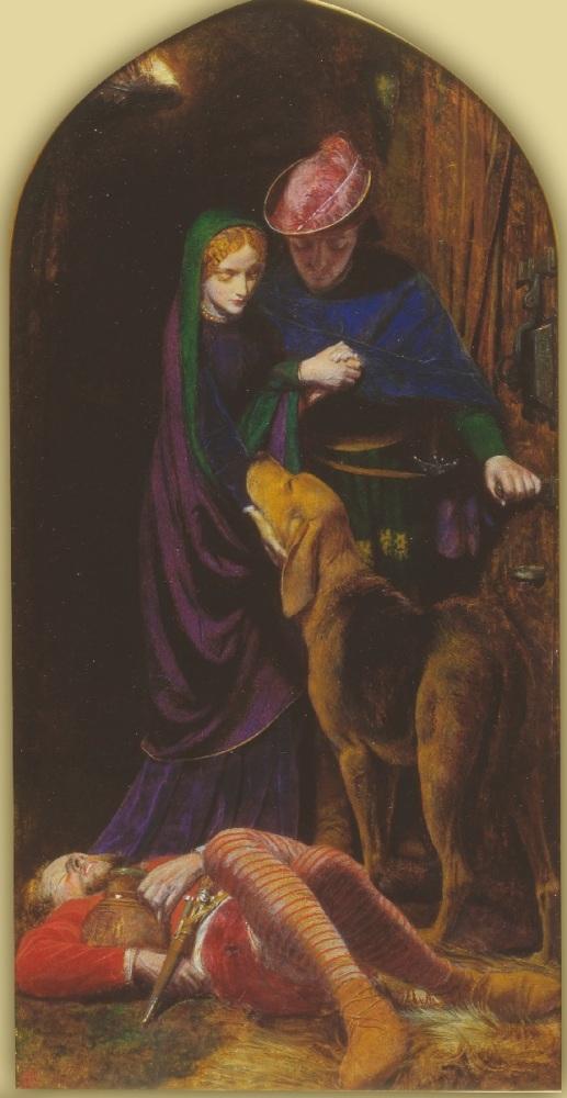 Артур Хьюз, «Вечер св. Агнессы», фрагмент, Правая часть триптиха