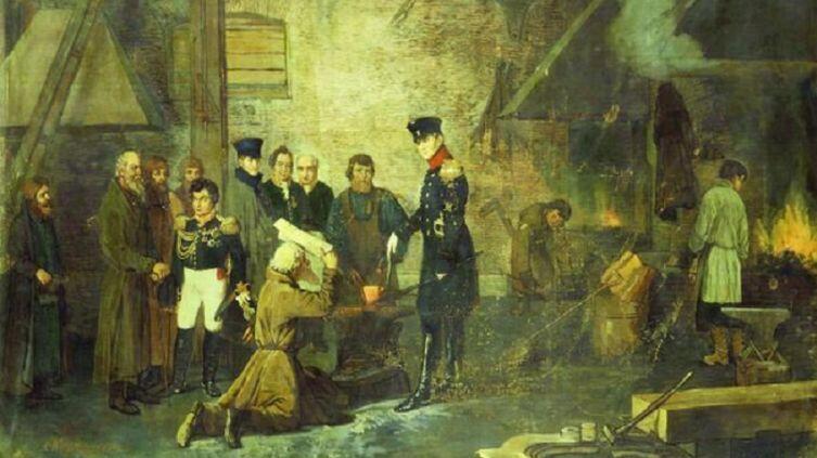 А. И. Корзухин, «Александр Первый на Нижне-Исетском заводе в 1824 году», 1877г.