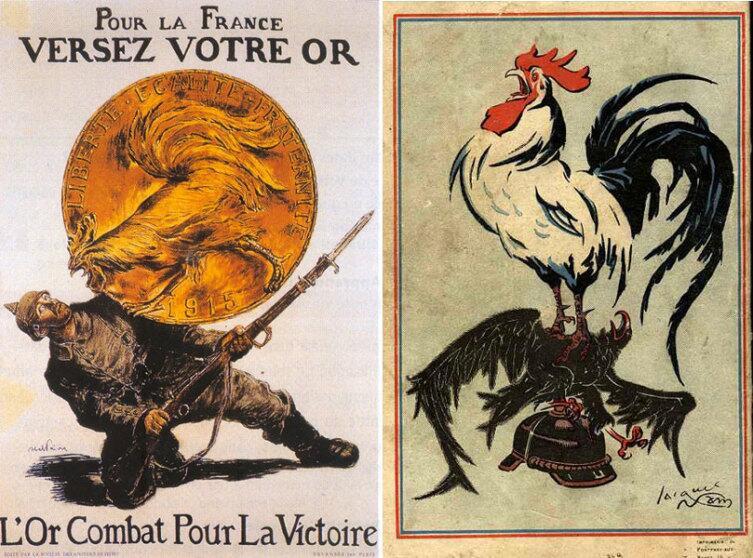 Галльский петух на плакатах времён Первой Мировой войны.