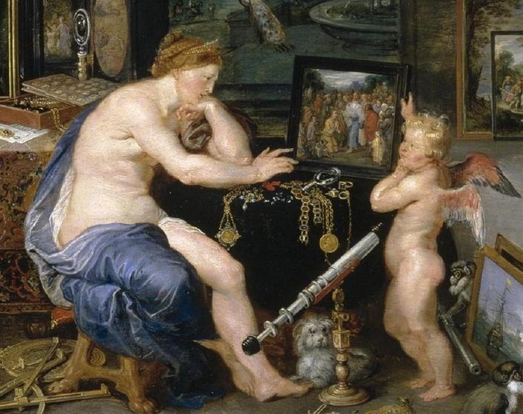Рубенс, Ян Брейгель, «Зрение», фрагмент. Венера и Амур