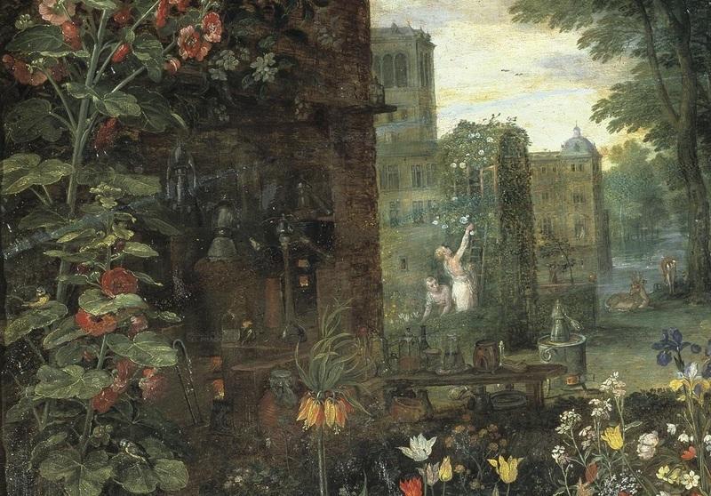 Рубенс, Ян Брейгель, «Обоняние», фрагмент. Перегонка