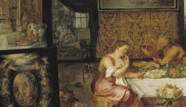 Рубенс, Ян Брейгель, «Вкус», фрагмент. Нимфа и сатир