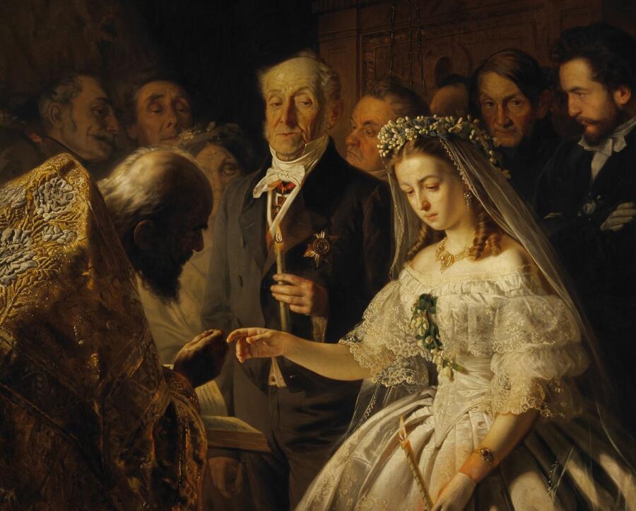 В. В. Пукирев, «Неравный брак», фрагмент, 1862 г.