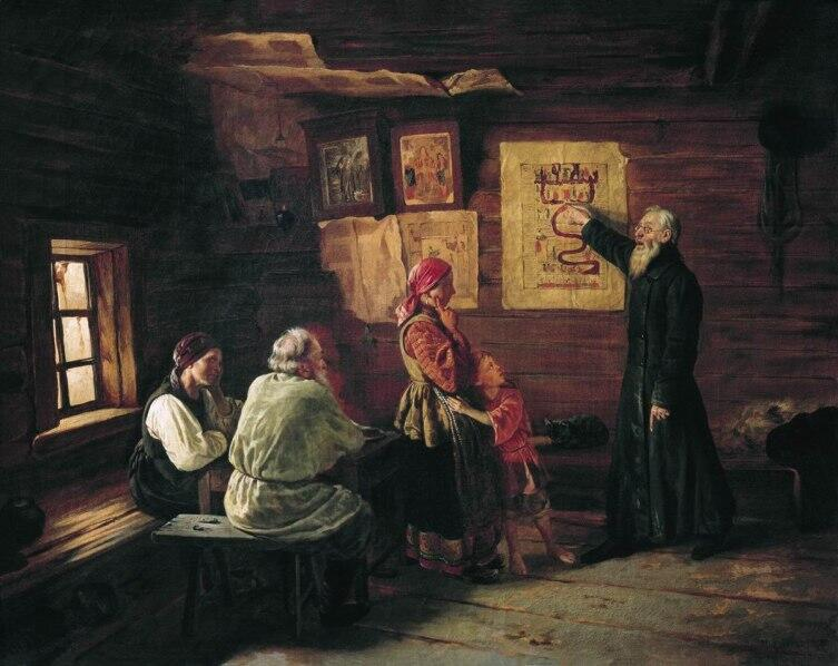 В. В. Пукирев, «Дьячок объясняет крестьянам картину Страшного Суда», 1868 г.