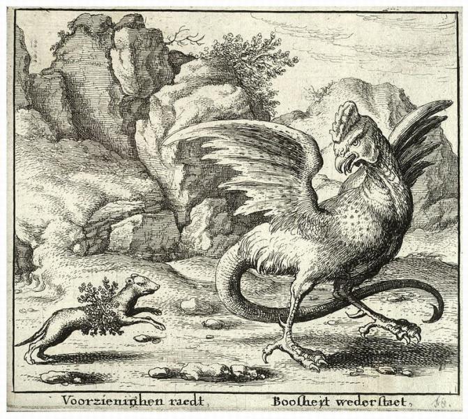 «Поединок хорька с василиском». Гравюра Холлара, XVII век