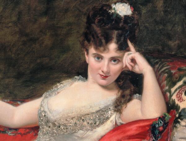 Каролюс-Дюран, «Портрет мадемуазель де Ланси», фрагмент, 1876 г.