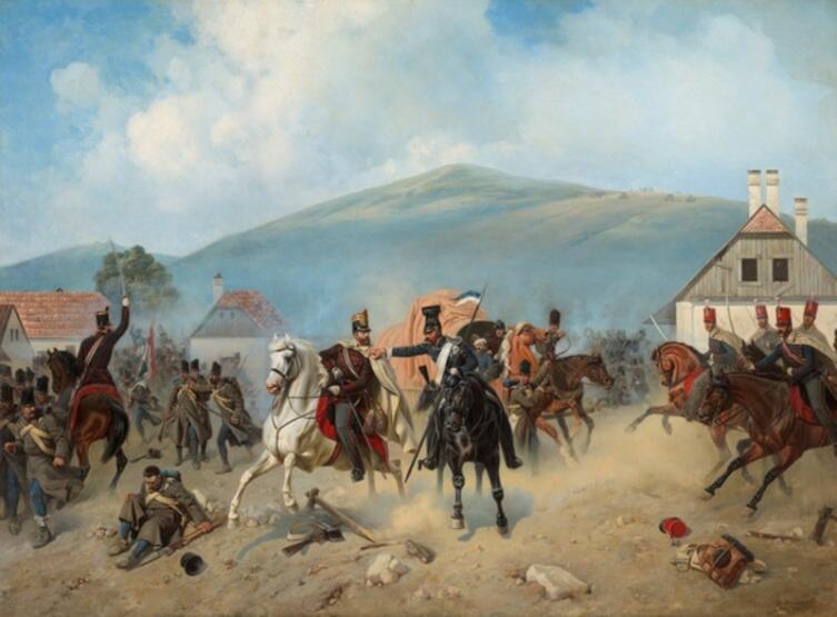 А. Виллевальде, «Атака русских улан во время Венгерской кампании 1848-1849 гг.», 1881 г.
