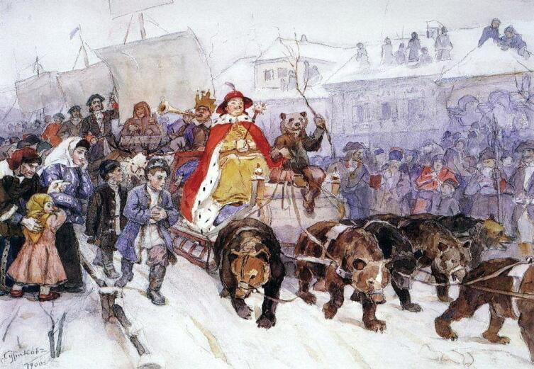 В. И. Суриков, «Большой маскарад в 1722 году на улицах Москвы с участием Петра I и князя-кесаря И. Ф. Ромодановского»