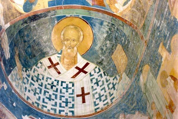 Святой Николай, фреска собора Ферапонтова монастыря работа Дионисия, 1502 г.