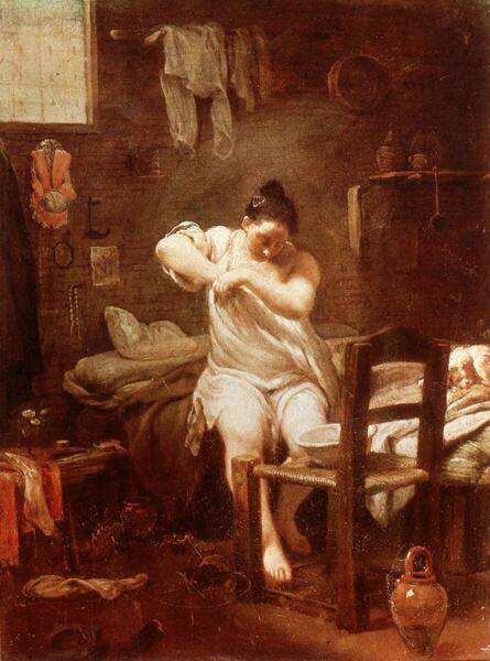 Джузеппе-Мария Креспи, «Женщина, ищущая блох», ок. 1709 г.