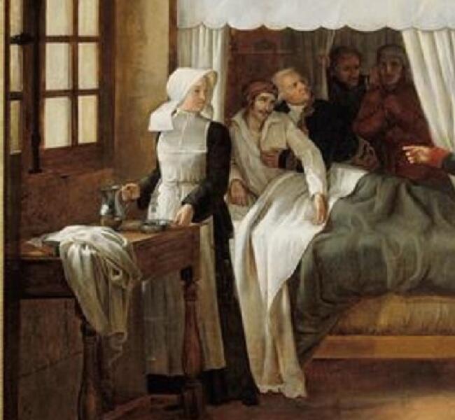 """Александр Пауль Жозеф Верон (Верон-Беллекурт), «Визит Наполеона в Дом Инвалидов 11 февраля 1808 года», фрагмент """"Умирающий"""""""