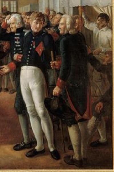"""Александр Пауль Жозеф Верон (Верон-Беллекурт), «Визит Наполеона в Дом Инвалидов 11 февраля 1808 года», фрагмент """"Офицеры Дома Инвалидов"""""""