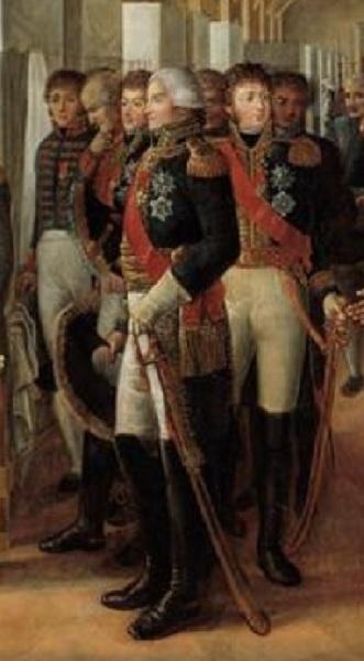 """Александр Пауль Жозеф Верон (Верон-Беллекурт), «Визит Наполеона в Дом Инвалидов 11 февраля 1808 года», фрагмент """"Военачальники"""""""