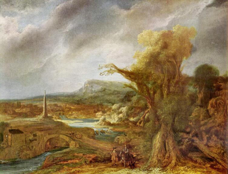 Говерта Флинк, «Пейзаж с обелиском», 1638 г.