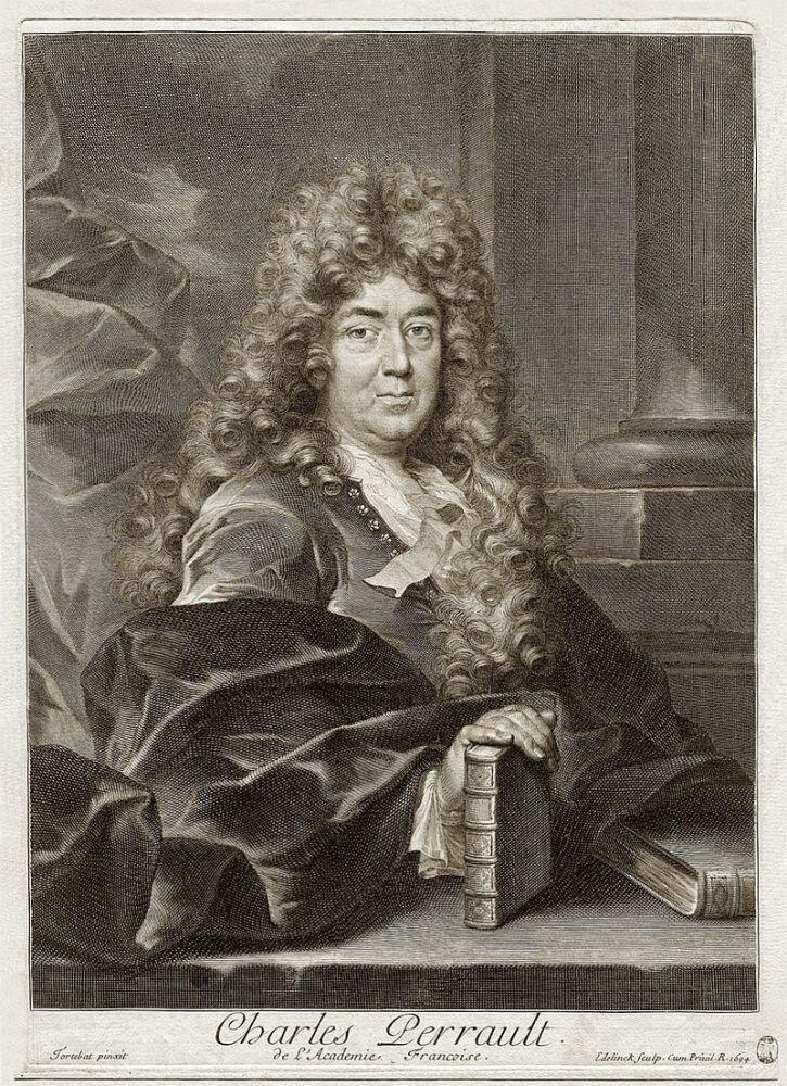 Портрет Шарля Перро в возрасте 66 лет и в мантии члена Французской академии, гравюра, 1694 г.