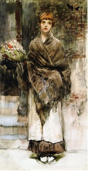 Бастьен-Лепаж, Продавщица цветов, 40х21 см, музей Бастьен-Лепажа, Монтмеди, Франция