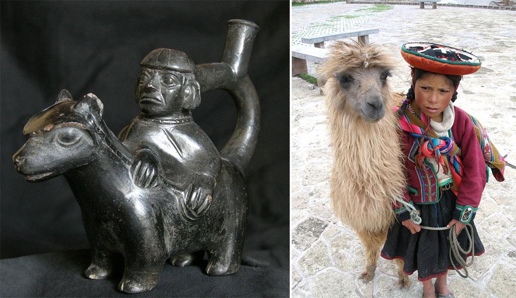 Индейцы с ламой (слева - статуэтка инков)