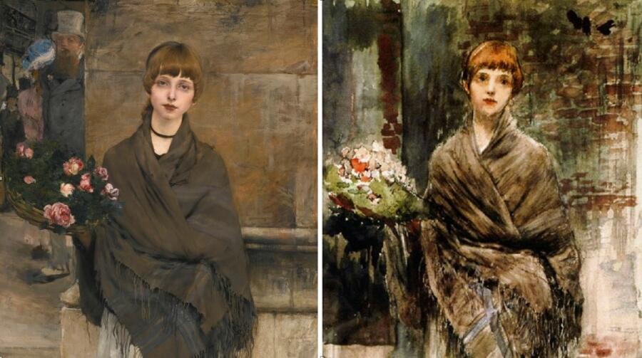 Бастьен-Лепаж «Продавщица цветов», сравнение картин
