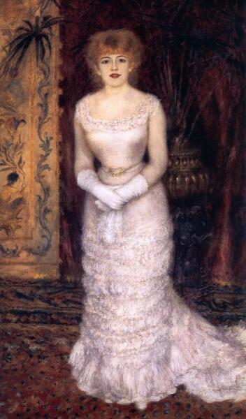 Огюст Ренуар, портрет актрисы Жанны Самари, 1878, 174х105 см, Эрмитаж, Петербург, Россия