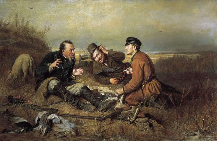 Василий Перов, «Охотники на привале», 1871 г.