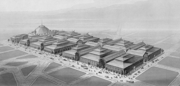 Центральный парижский рынок Ле-Аль в 1863 году