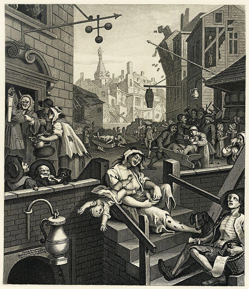 Уильям Хогарт, «Улица джина», 1751 г.
