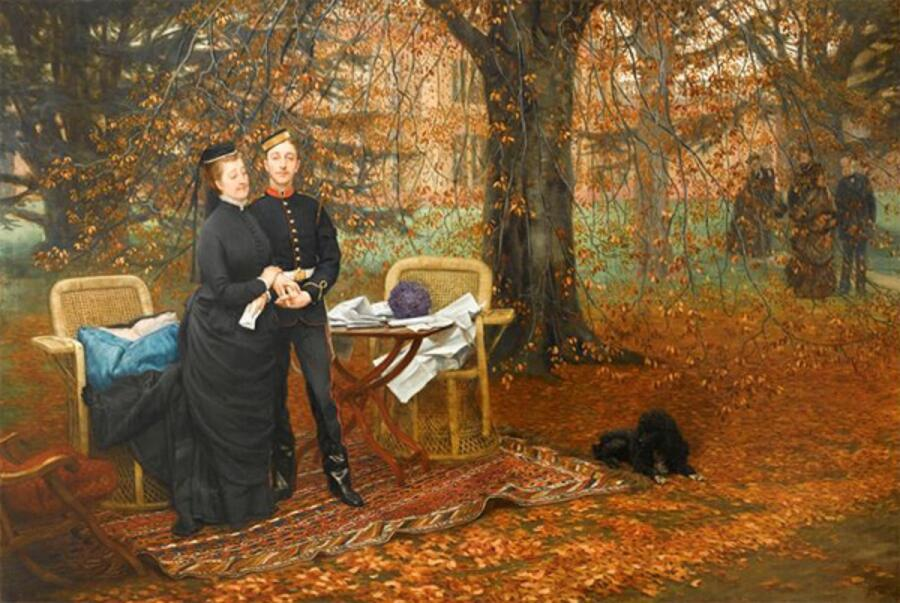 Джеймс Тиссо, Императрица Евгения с принцем империи в парке Кемден, Чизлхерст, 1874, 106х152 см, Компьенский дворец, Компьен, Франция