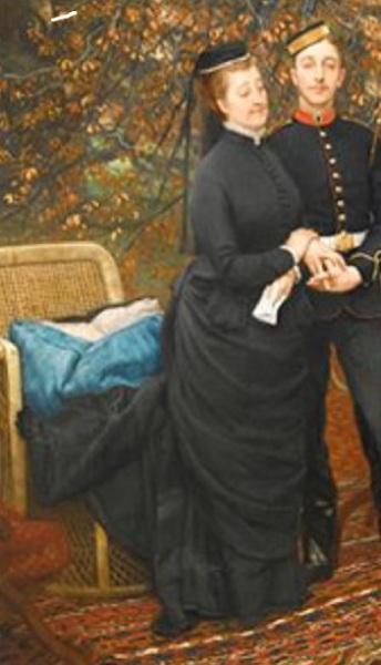 """Джеймс Тиссо, Императрица Евгения с принцем империи в парке Кемден, Чизлхерст, фрагмент """"Траурное одеяние императрицы"""""""