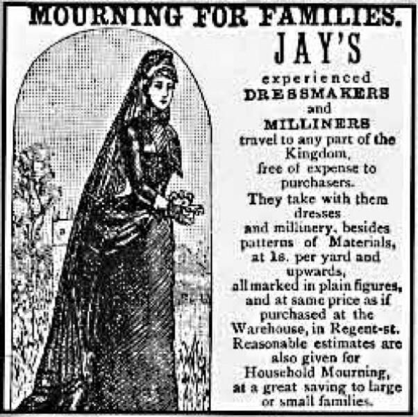 Реклама викторианской траурной одежды
