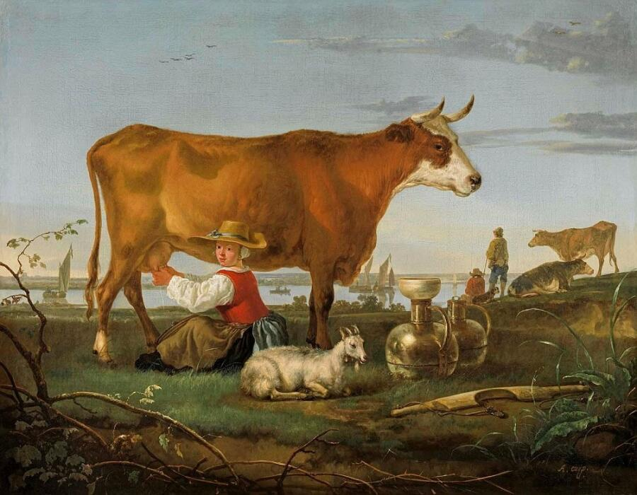 Кёйп Альберт, «Пейзаж с дояркой у реки», 1650-55 гг.