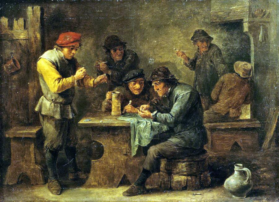 Давид Тенирс Младший, «Крестьяне играющие в кости», ок. 1640 г.