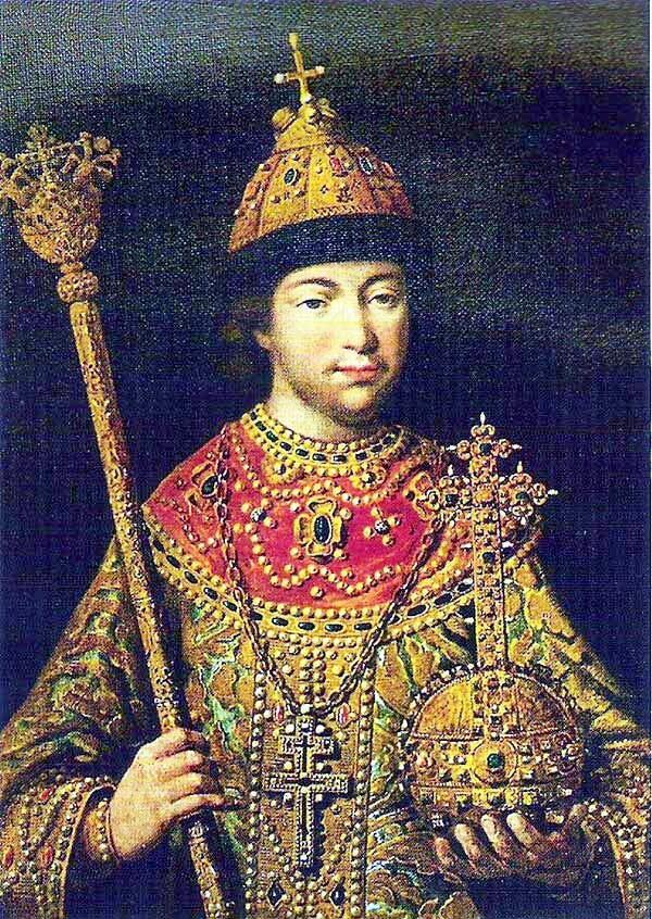 Михаил Фёдорович после избрания на царство, иллюстрация из книги «Летописный и лицевой изборник дома Романовых»