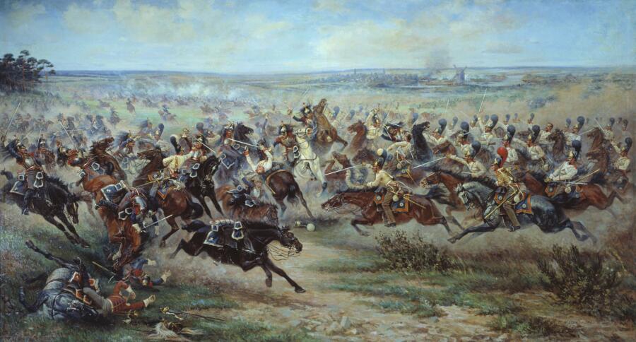 Виктор Мазуровский, «Атака лейб-гвардии конного полка на французских кирасир в сражении под Фридландом 2июня 1807 года», 1912г.