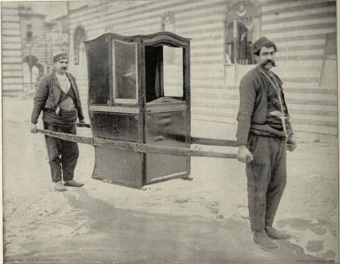 Паланкин типa Седан, восстановленный в турецкой Деревне Всемирной Выставки Колумба (en:World's Columbian Exposition), 1893 год