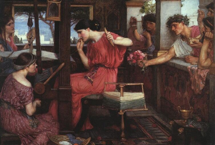 Джон Уильям Уотерхаус, «Пенелопа и женихи», 1912 г.