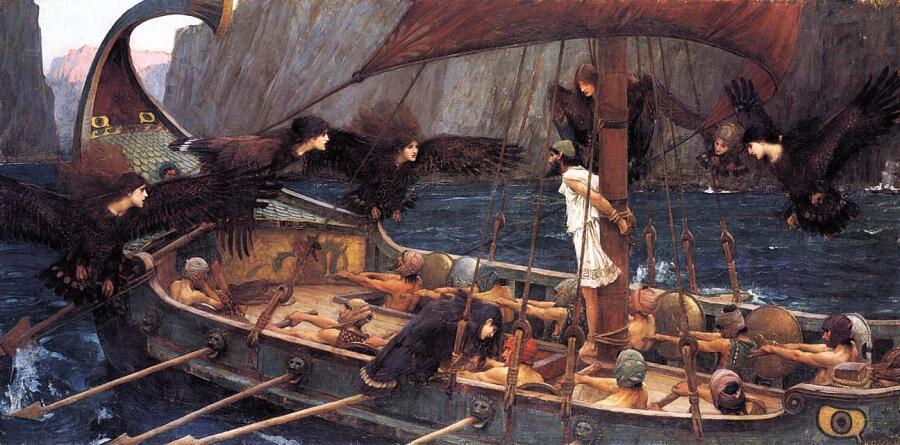 Джон Уильям Уотерхаус, «Одессей и серены», 1891 г.