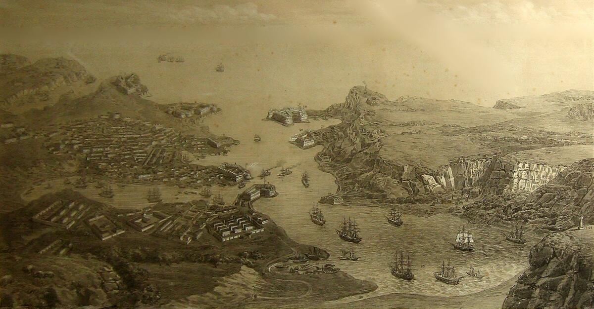 Литография «Перспектива города, гавани и укреплений Севастополя», 1850-е