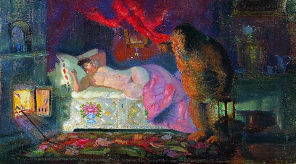 Картина Бориса Кустодиева «Купчиха и домовой», 1922