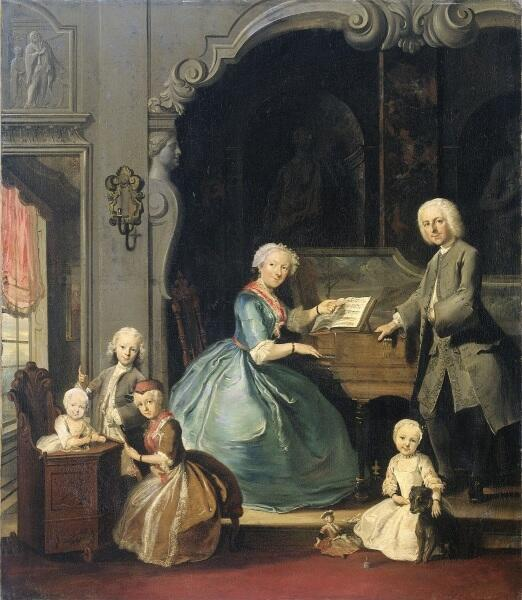 Корнелис Трост, «Семья у клавесина», 1739 г.