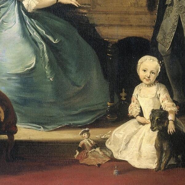 Корнелис Трост, «Семья у клавесина», фрагмент