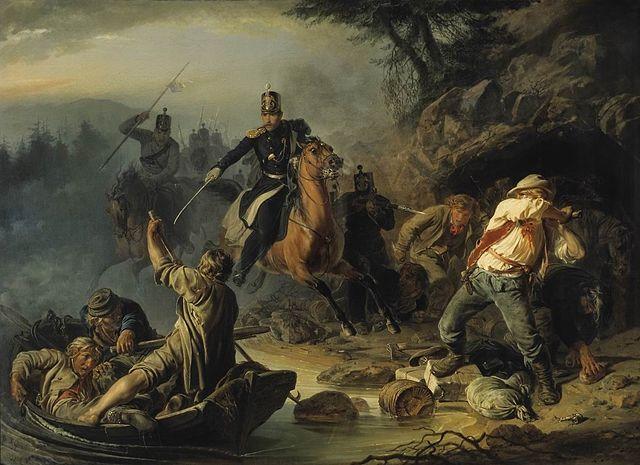 Картина «Стычка с финляндскими контрабандистами»