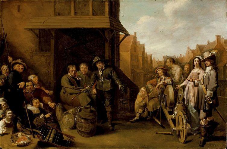 Якоб Дук, «Уличная сценка с точильщиком ножей и элегантной парой», 1655 г.