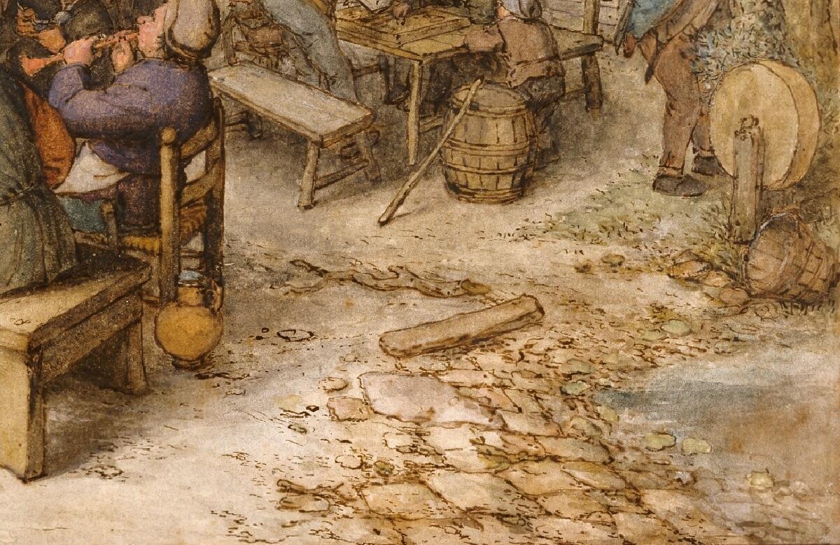 Адриан ван Остаде, «Гулянка на городской улице», фрагмент, 1674 г.