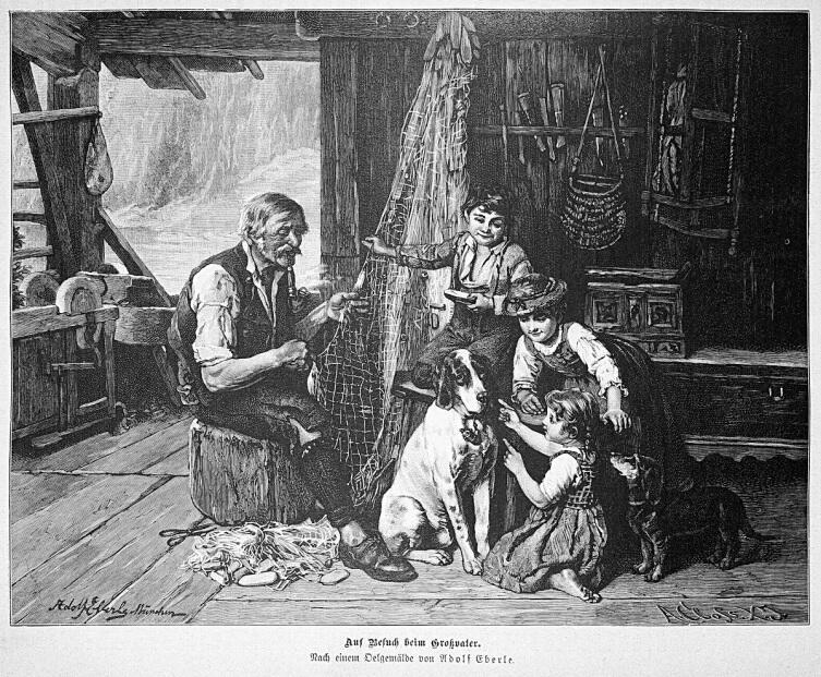 Адольф Эберле, «Визит к деду», 1877 г.