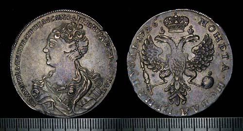 Рубль Екатерины I серебром, 1726 г.