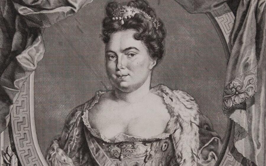 Екатерина Алексеевна, фрагмент гравюры 1724 г.