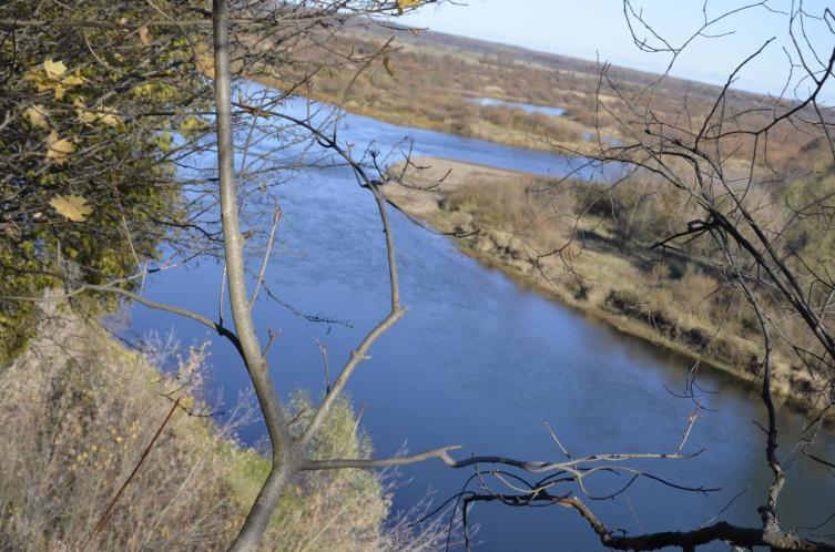 Славгород, Беларусь. Вид с Замковой горы на прупой - место слияния Прони и Сожа