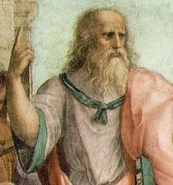 Платон на фреске Рафаэля Санти «Афинская школа»