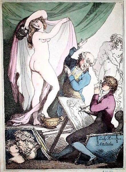 Томас Роландсон, «Карикатура на живые картины Эммы Гамильтон», 1790-е гг.